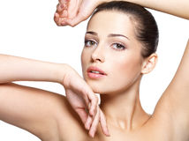 Beauty face of young woman. Skin care concept. Royalty Free Stock Photo