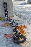 Beauty of  fading autumn. And rusty chain Royalty Free Stock Images