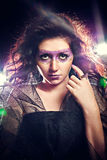 Beauty with fantasy glitter make-up Stock Photos