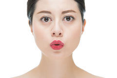Beauty fashion asian woman with red lipstick kiss pose Royalty Free Stock Photography