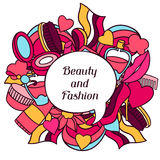Beauty and fashion background design with cosmetic Stock Image