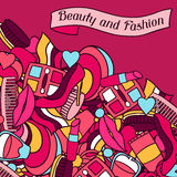 Beauty and fashion background design with cosmetic Stock Photos