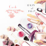 Beauty and fashion background with vector watercolor cosmetics a Royalty Free Stock Photos