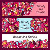 Beauty and fashion banners design with cosmetic Royalty Free Stock Photos