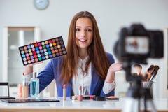 The beauty fashion blogger recording video Royalty Free Stock Photo
