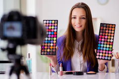 The beauty fashion blogger recording video Stock Photo