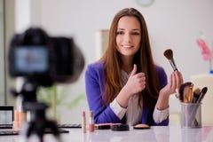 The beauty fashion blogger recording video. Beauty fashion blogger recording video Royalty Free Stock Photo