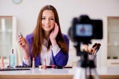 The beauty fashion blogger recording video Stock Photos