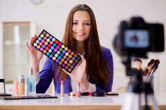 The beauty fashion blogger recording video Stock Image