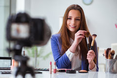 The beauty fashion blogger recording video Royalty Free Stock Photography