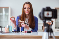 The beauty fashion blogger recording video Stock Photos