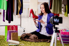The beauty fashion blogger recording video for blog Royalty Free Stock Photography