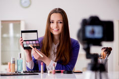 The beauty fashion blogger recording video for blog Royalty Free Stock Images