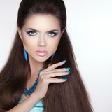 Beauty fashion brunette girl model with makeup, manicured polish Royalty Free Stock Photography
