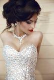 Beauty fashion brunette model portrait. Elegant lady in luxuriou Stock Image