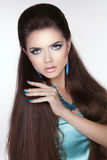 Beauty fashion brunette woman. Long hair styling. Beautiful woma Royalty Free Stock Photos