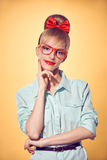 Beauty fashion business woman, red glasses. Pinup Stock Photography