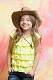 Beauty and fashion, childhood and happiness, west and discovery, cowboy. Police Royalty Free Stock Images