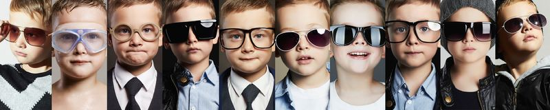Children in glasses and sunglasses collage. Beauty fashion collage.Faces of children in glasses and sunglasses.fashion kids Royalty Free Stock Image