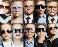 Children in glasses and sunglasses collage Stock Photos