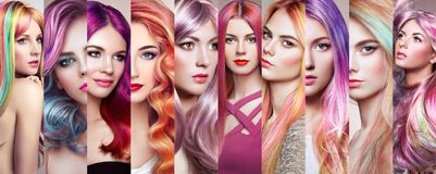 Beauty fashion collage girls with colorful dyed hair