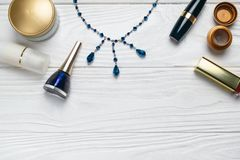Beauty fashion composition with make up and necklace stock photography