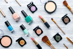 Beauty and fashion concept with decorative cosmetics on table background top view Royalty Free Stock Photo