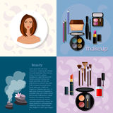 Beauty fashion concept makeup products professional. Make-up details cosmetology beautiful woman face vector icons Royalty Free Stock Photo