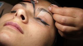 Beauty and fashion concept. Preparation for Eyelash Extension Procedure. Beautician prepares the eyelashes of a young