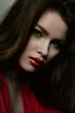 Beauty fashion female model with red lips and red blouse royalty free stock photos