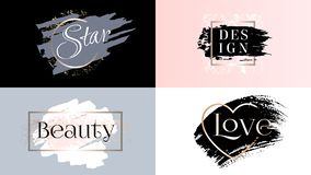 Beauty fashion frames icons logo set. Cosmetics golden paint, ink brushstroke, brush, line or texture. Pastel dirty artistic design element, box, frame for stock illustration