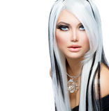 Beauty Fashion Girl. Black and white style. Long White Hair Stock Images