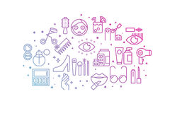 Beauty and Fashion gradient line icons illustration Stock Photography