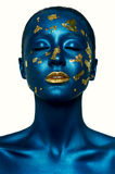 Beauty fashion Halloween Girl with closed Eyes, and blue Skin. Beauty fashion Girl with closed Eyes, blue Skin and gold Lips. Halloween Makeup stock images