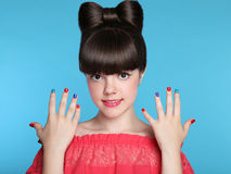 Beauty fashion happy smiling teen girl with funny bow hairstyle Royalty Free Stock Photography