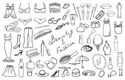 Beauty and fashion items  vector set Stock Photos