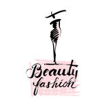 Beauty and fashion lady. Hand drawn sketch of woman fashion figure with lettering beauty and fashion Royalty Free Stock Photo