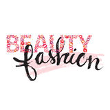 Beauty and fashion lettering. Hand drawn sketch of lettering beauty and fashion Stock Images