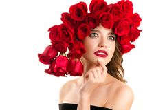 Beauty Fashion Model Face with red roses royalty free stock images