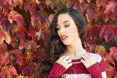 Beauty Fashion Model Girl with Autumnal Make up Royalty Free Stock Photo