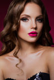 Beauty fashion model girl with bright makeup royalty free stock image
