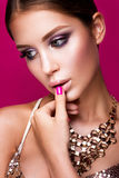 Beauty fashion model girl with bright makeup, long Royalty Free Stock Images
