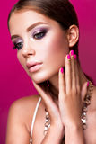 Beauty fashion model girl with bright makeup, long Stock Photo