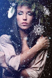 Beauty Fashion Model Girl with Christmas Tree Hairstyle Royalty Free Stock Photos