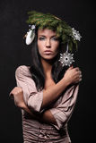 Beauty Fashion Model Girl with Christmas Tree Hairstyle Stock Images