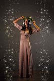 Beauty Fashion Model Girl with Christmas Tree Hairstyle Stock Image