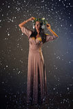 Beauty Fashion Model Girl with Christmas Tree Hairstyle Stock Photography