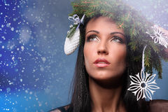 Beauty Fashion Model Girl with Christmas Tree Hairstyle Royalty Free Stock Photography