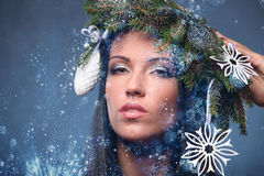 Beauty Fashion Model Girl with Christmas Tree Hairstyle Stock Photos