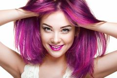 Beauty fashion model girl with colorful dyed hair royalty free stock photos